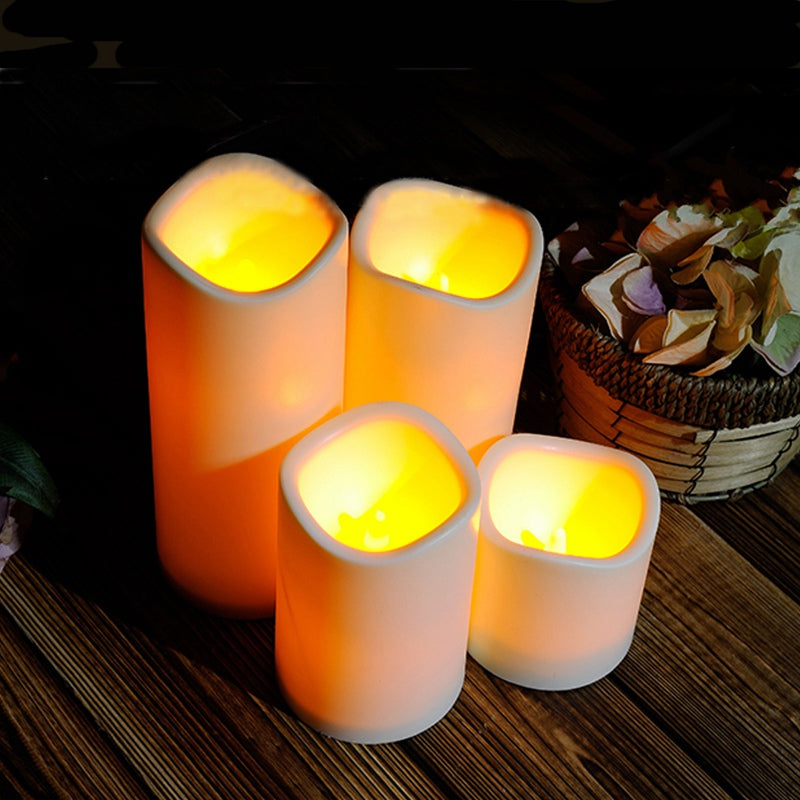 Cylindrical Flickering Flameless Pillar LED Night Light Lamp