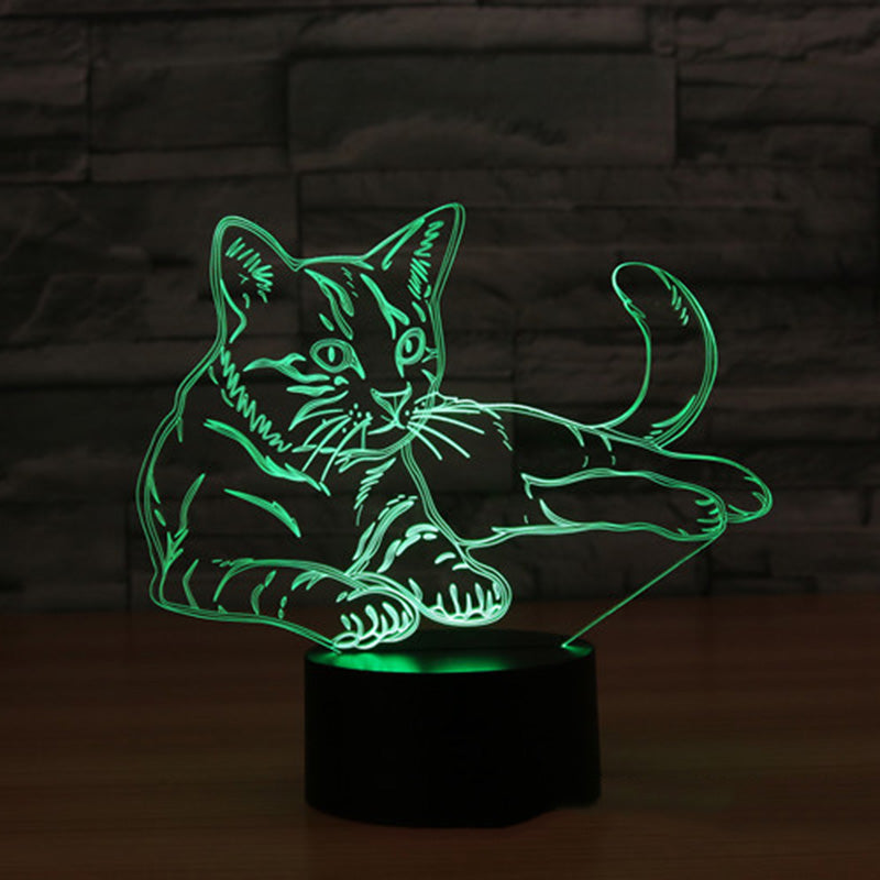 3D LED Night Light Alert Cat with 7 Colors