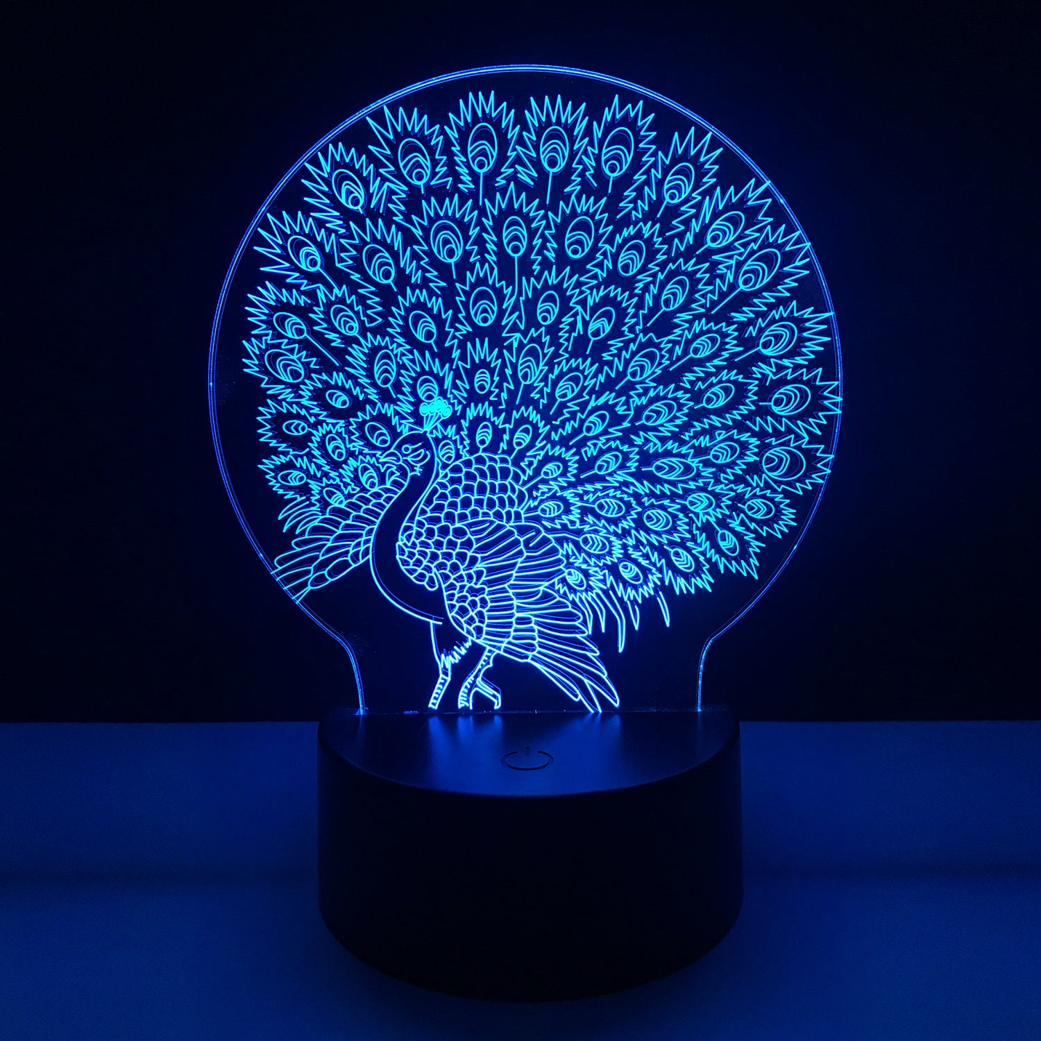 Colorful Peacock 3D Night Light USB Touch Table Lamp