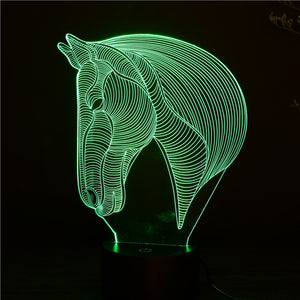 Horse Shape 3D Optical Illusion LED Light