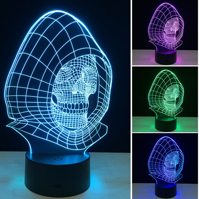 3D Night Lights 7 Color Changing Skull USB Optical Illusion Home Decor