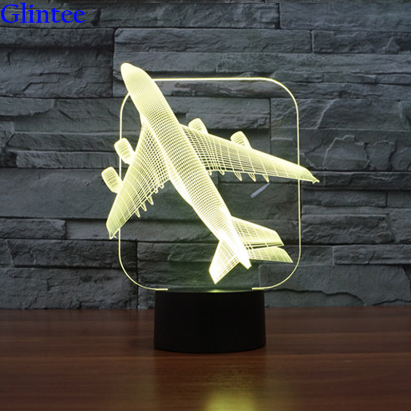 AirPlane 3D Light LED Table Lamp Optical Illusion Night Light 7 Colors