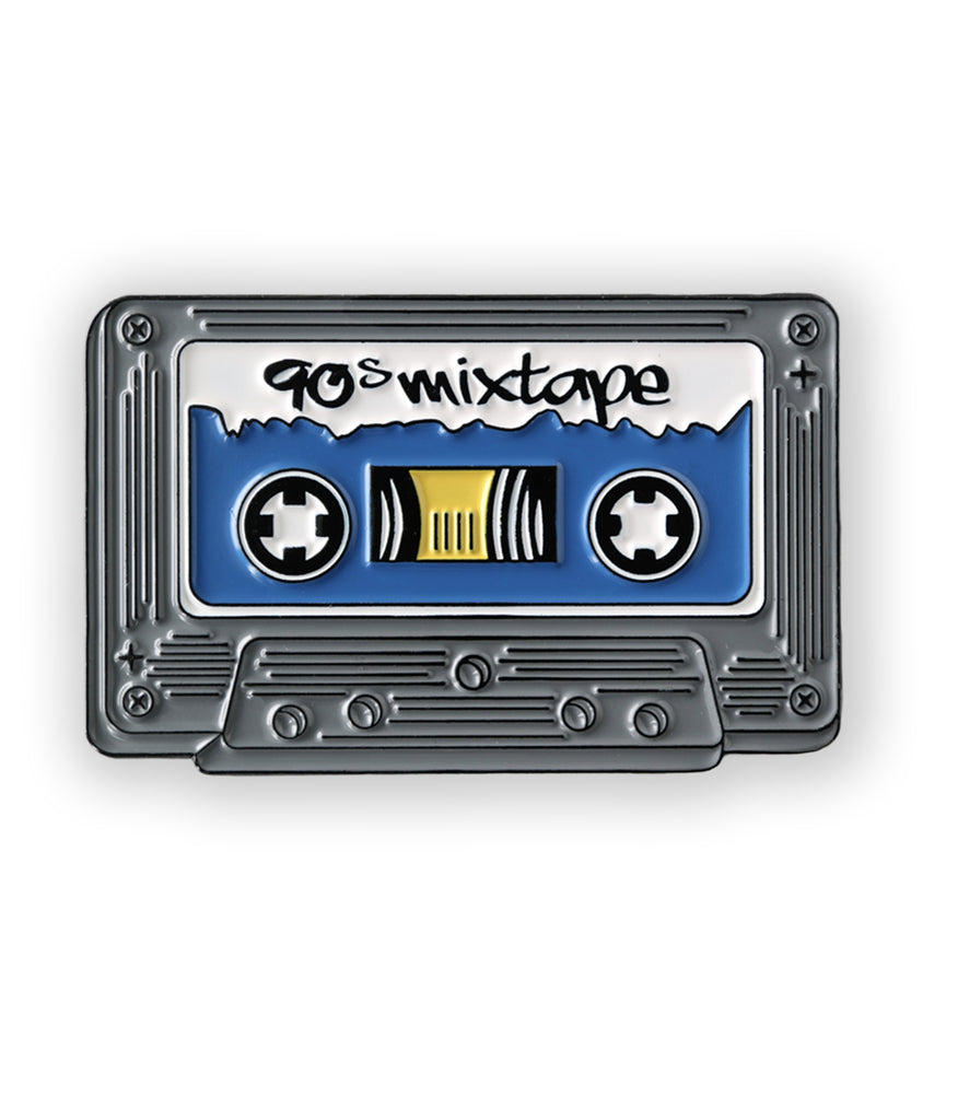 gray cassette tape soft enamel pin - 90s mix