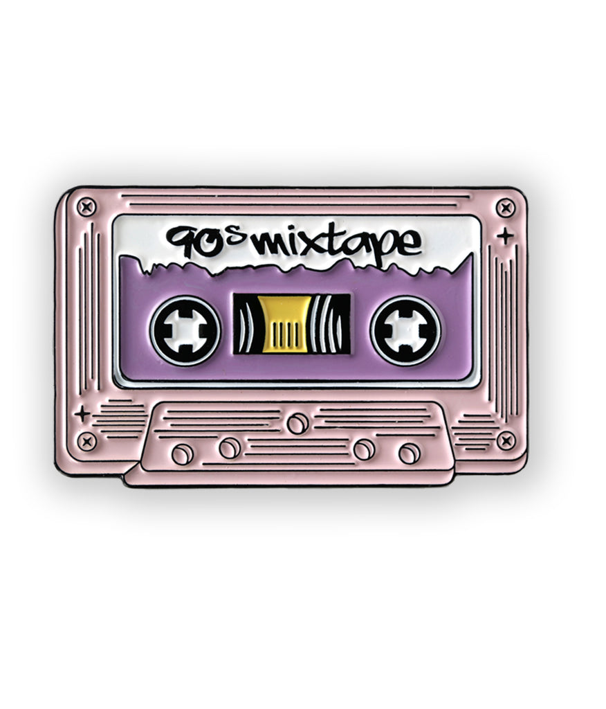 pink cassette tape soft enamel pin - 90s mix