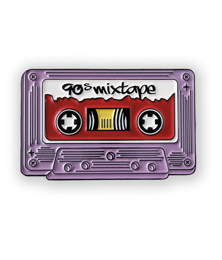 purple cassette tape soft enamel pin - 90s mix