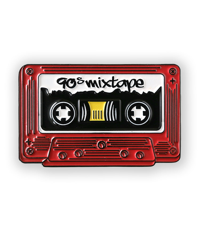 red cassette tape soft enamel pin - 90s mix