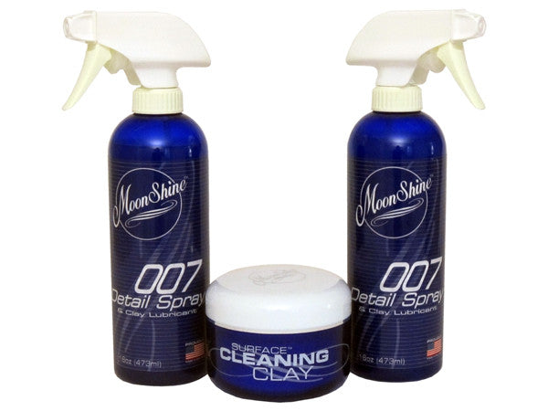 MoonShine Sureface cleaning Clay Kit with two bottles of 007 Detail Spray lubricant
