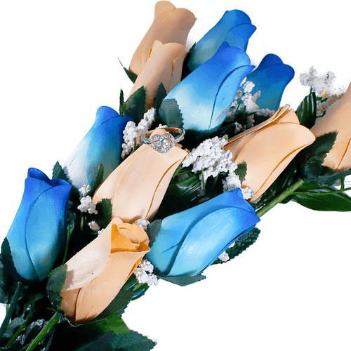 Baby Blue & Peach Bouquet | Jewelry Surprise Roses®-Jewelry Surprise Roses®-The Official Website of Jewelry Candles - Find Jewelry In Candles!
