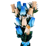 Baby Blue & Peach Bouquet | Jewelry Roses® - BathBombs.Com