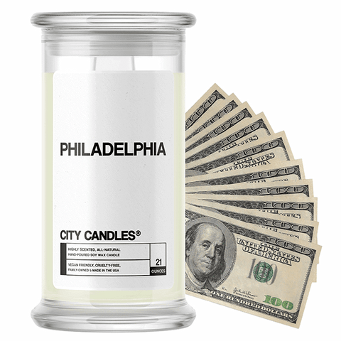 Philadelphia | City Cash Candle®-City Cash Candles®-The Official Website of Jewelry Candles - Find Jewelry In Candles!