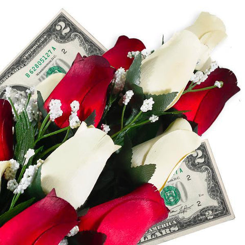 Cream & Red Bouquet Cash Roses - BathBombs.Com