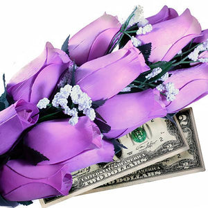 Lavender Bouquet Cash Roses - BathBombs.Com
