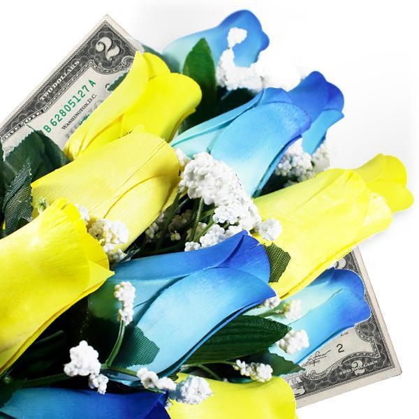 Baby Blue & Yellow Bouquet Cash Roses - BathBombs.Com