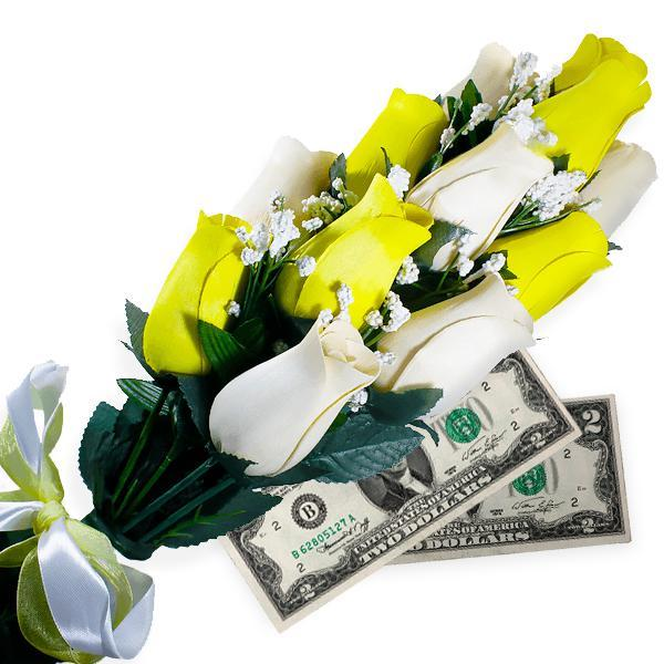Cream & Yellow Bouquet Cash Roses - BathBombs.Com