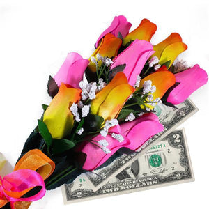 Orange Yellow Ombré & Pink Bouquet Cash Roses - BathBombs.Com