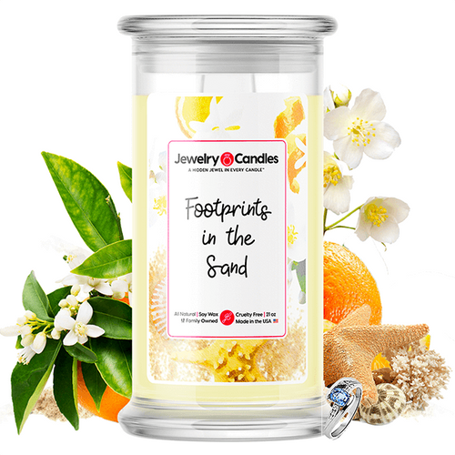 Footprints in the Sand | Jewelry Surprise Candle® - BathBombs.Com