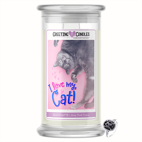I Love My Cat Jewelry Greeting Candle
