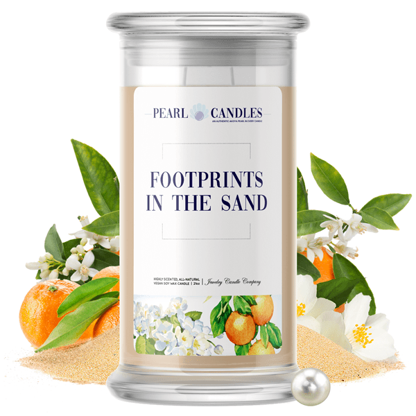 Footprints In The Sand Pearl Candle - BathBombs.Com