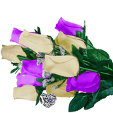 Purple & Cream Bouquet Charm Roses - BathBombs.Com