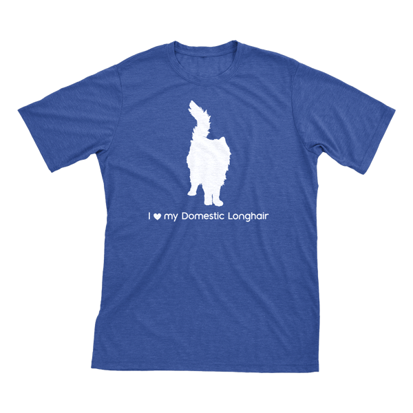 I Love My Domestic Longhair Must Love Cats White On Heathered Royal Blue Short Sleeve T-Shirt - BathBombs.Com