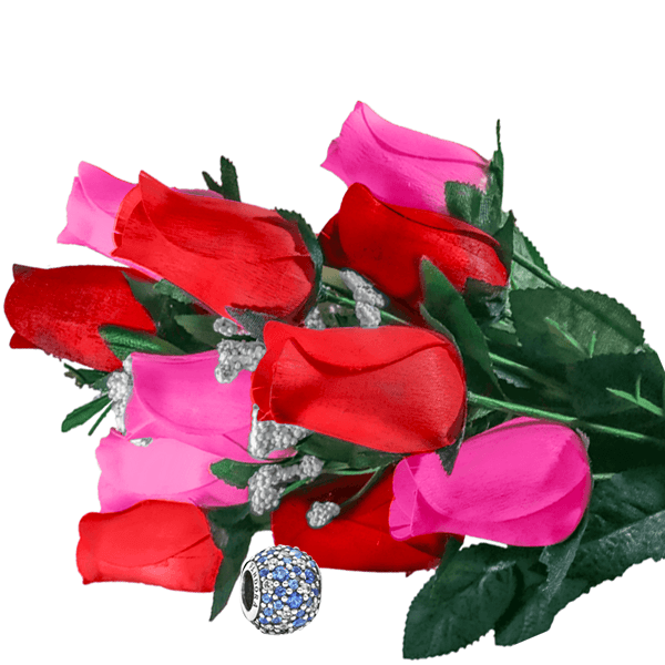 Pink & Red Bouquet Charm Roses - BathBombs.Com