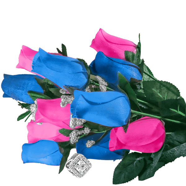 Baby Blue & Pink Bouquet Charm Roses - BathBombs.Com