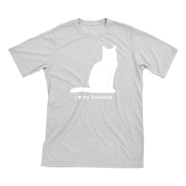 I Love My Snowshoe Must Love Cats White On Heathered Grey Short Sleeve T-Shirt - BathBombs.Com