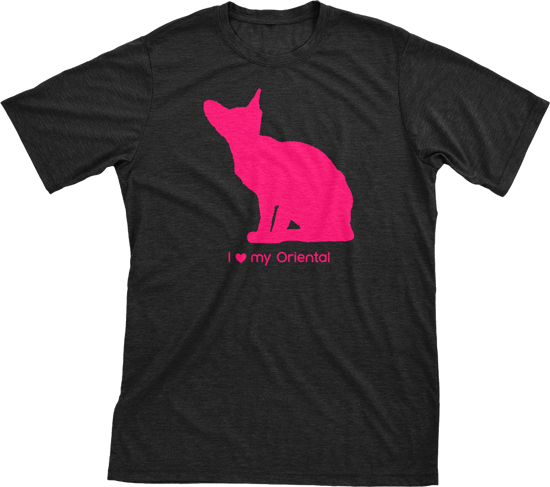 I Love My Oriental Must Love Cats Hot Pink On Black Short Sleeve T-Shirt - BathBombs.Com
