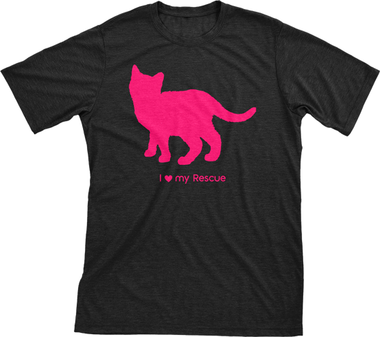 I Love My Rescue Must Love Cats Hot Pink On Black Short Sleeve T-Shirt - BathBombs.Com