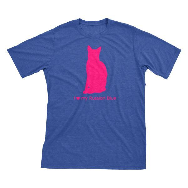 I Love My Russian Blue Must Love Cats Hot Pink On Heathered Royal Blue Short Sleeve T-Shirt - BathBombs.Com