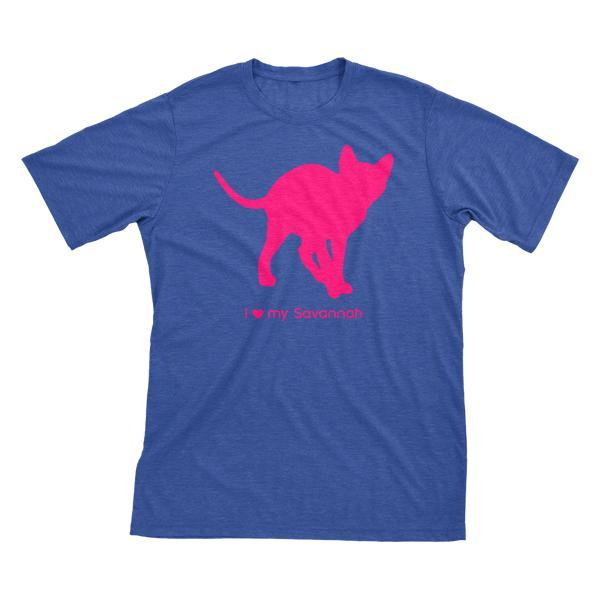 I Love My Savannah Must Love Cats Hot Pink On Heathered Royal Blue Short Sleeve T-Shirt - BathBombs.Com