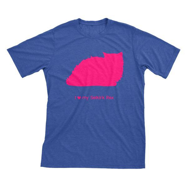 I Love My Selkirk Rex Must Love Cats Hot Pink On Heathered Royal Blue Short Sleeve T-Shirt - BathBombs.Com