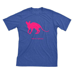 I Love My Sphnyx Must Love Cats Hot Pink On Heathered Royal Blue Short Sleeve T-Shirt - BathBombs.Com