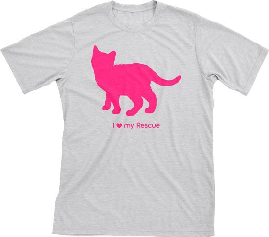 I Love My Rescue Must Love Cats Hot Pink On Heathered Grey Short Sleeve T-Shirt - BathBombs.Com