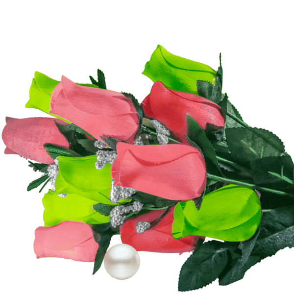 Coral & Green Bouquet Pearl Roses - BathBombs.Com