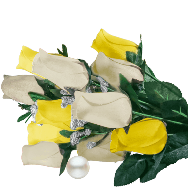 Cream & Yellow Bouquet Pearl Roses - BathBombs.Com