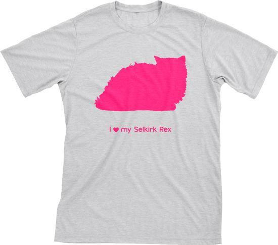 I Love My Selkirk Rex Must Love Cats Hot Pink On Heathered Grey Short Sleeve T-Shirt - BathBombs.Com