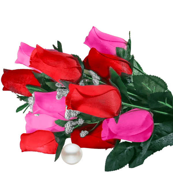 Pink & Red Bouquet Pearl Roses - BathBombs.Com