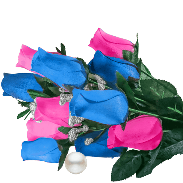 Baby Blue & Pink Bouquet Pearl Roses - BathBombs.Com