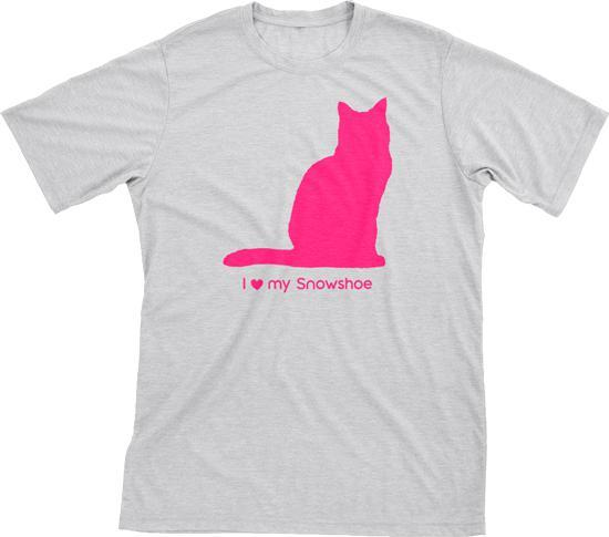 I Love My Snowshoe Must Love Cats Hot Pink On Heathered Grey Short Sleeve T-Shirt - BathBombs.Com