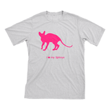 I Love My Sphnyx Must Love Cats Hot Pink On Heathered Grey Short Sleeve T-Shirt - BathBombs.Com