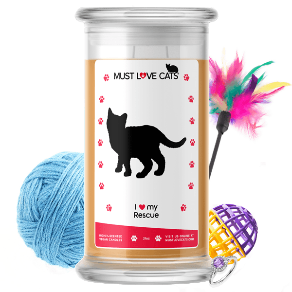 I Love My Rescue Must Love Cats Candle - BathBombs.Com