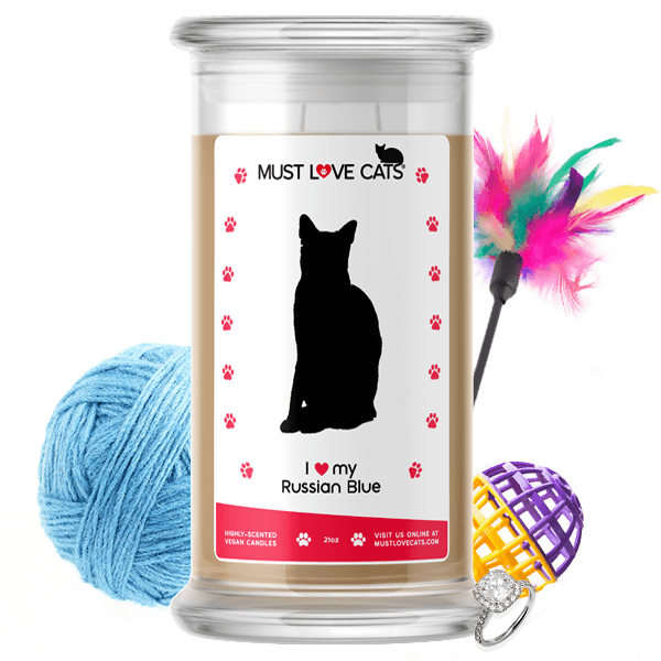 I Love My Russian Blue Must Love Cats Candle - BathBombs.Com