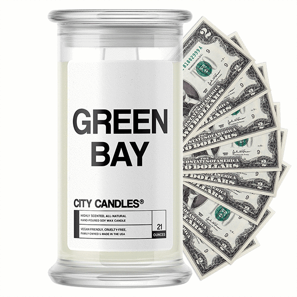 Green Bay City Cash Candle - BathBombs.Com