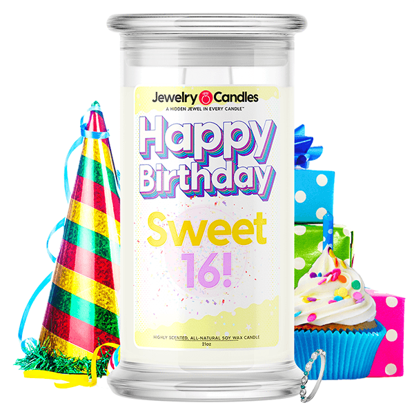Happy Birthday Sweet 16! Happy Birthday Jewelry Candle - BathBombs.Com