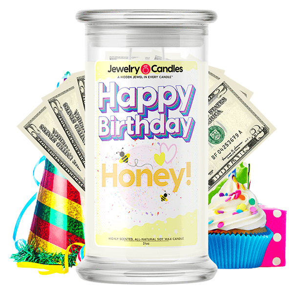 Happy Birthday Honey! Happy Birthday Cash Money Candle - BathBombs.Com