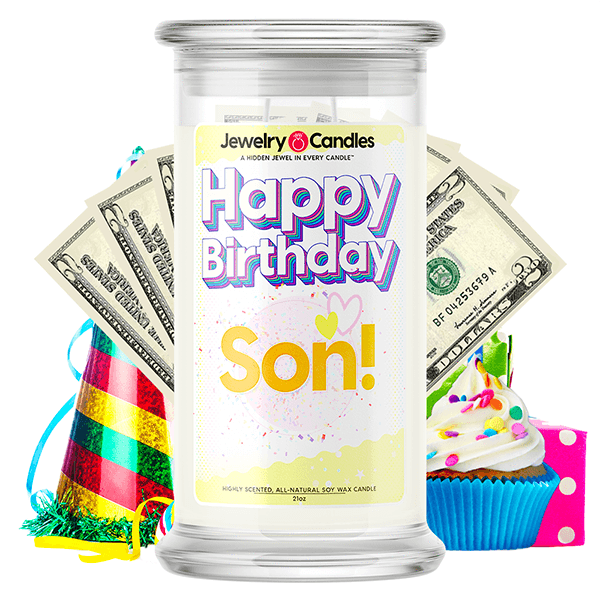 Happy Birthday Son! Happy Birthday Cash Money Candle - BathBombs.Com