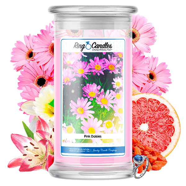 Pink Daisies Ring Candle - BathBombs.Com