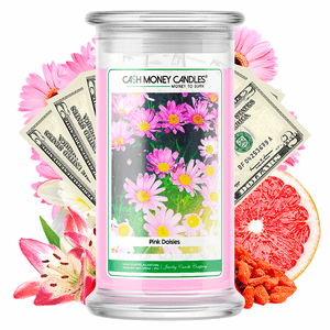 Pink Daisies Cash Money Candle - BathBombs.Com