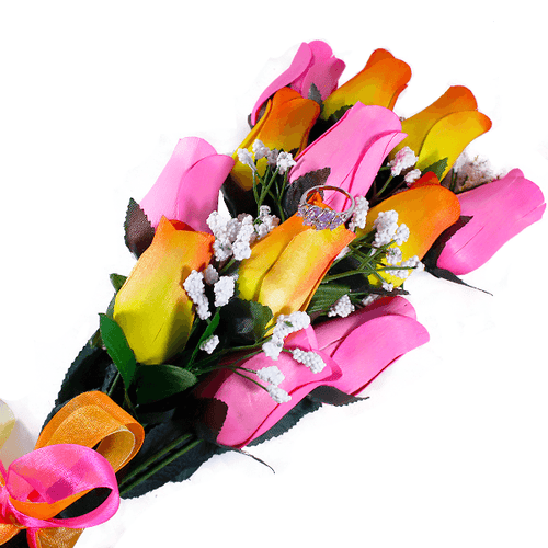 Orange Yellow Ombré & Pink Bouquet | Jewelry Surprise Roses®-Jewelry Surprise Roses®-The Official Website of Jewelry Candles - Find Jewelry In Candles!